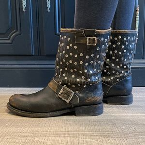 Frye black moto boots